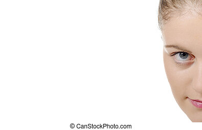 portrait of young woman looking camera, on white background