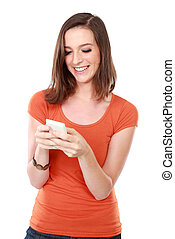 young woman smiling using mobile phone