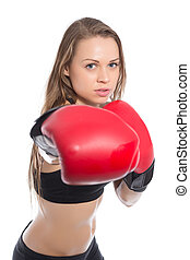 Portrait of young woman boxing. Isolated on white