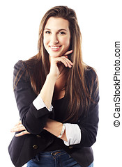 Portrait of young woman wearing blazer - Portrait of...