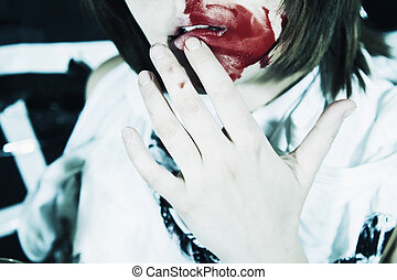woman with bloodstained face