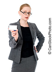 Portrait of young woman with business card