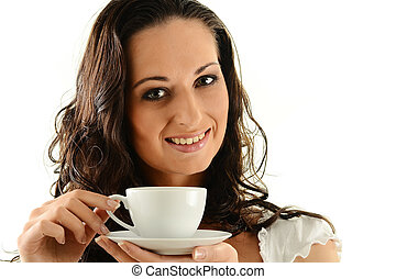 Portrait of young woman with cup of coffee