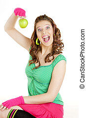 portrait of young woman with green apple