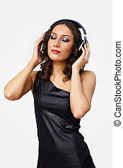 Portrait of young woman with headphones