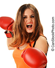 Portrait of young woman with red boxing gloves. Angry female...
