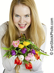 portrait of young woman with tulips