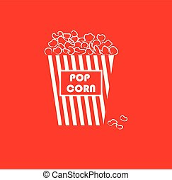 Portrait of yummy popcorn in a large paper bag with white stripes over red background vector or color illustration