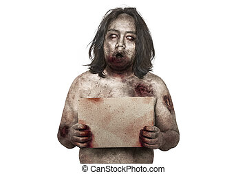 Portrait of zombie man holding empty brown paper for copy space