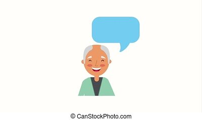 portrait older bald man with speech bubble animation hd