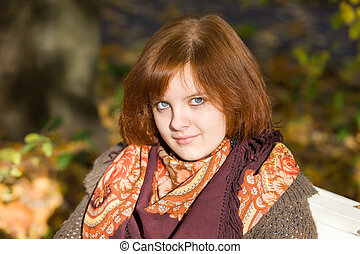 portrait on autumn bench