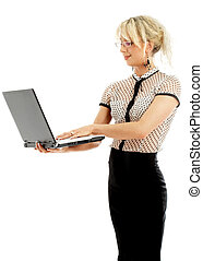 portrait or energetic businesswoman with laptop