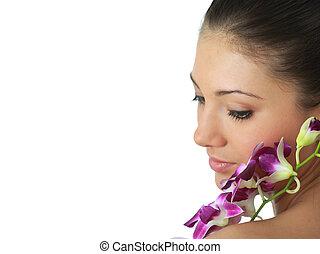 portrait, orchidée, girl, spa