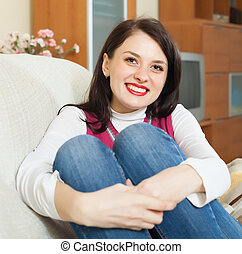 portrait, ordinaire, girl, heureux