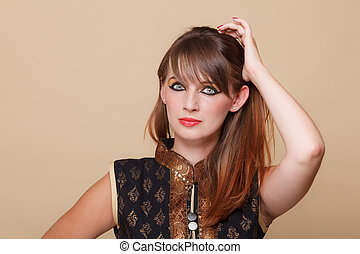 More stock photos of this modelSee All. Portrait orient girl with makeup