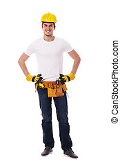 portrait, ouvrier construction, beau