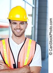portrait, ouvrier construction, heureux