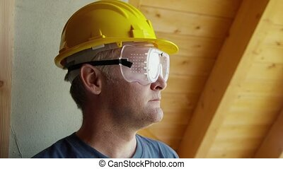 portrait, ouvrier construction, homme