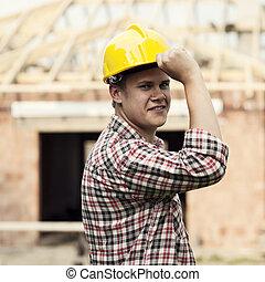 portrait, ouvrier construction