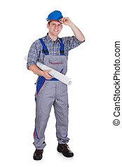 portrait, ouvrier construction, jeune