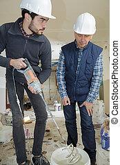 portrait, ouvriers, site construction