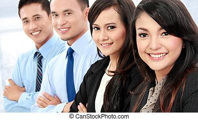 portrait, ouvriers, sourire, bureau