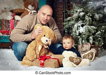 portrait, père noël, fils