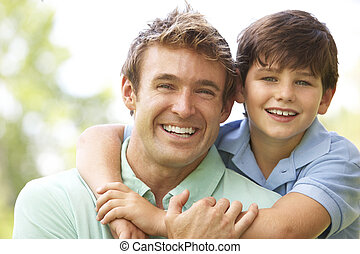 portrait, père, parc, fils