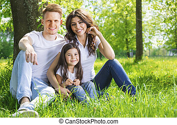 portrait, parc, famille, heureux