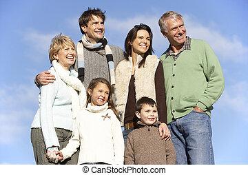 portrait, parc, famille