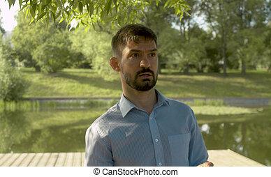 portrait, parc, lac, contre, homme