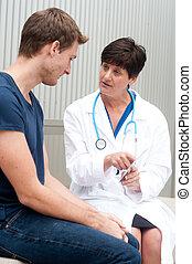 portrait, patient, docteur féminin