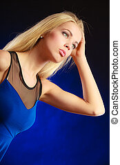 Portrait pensive girl long blond hair