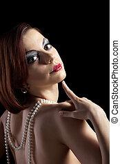 portrait, perles, femme, style, retro