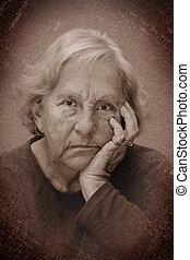 portrait, personne agee, dramatique, bouder, femme