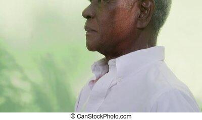 portrait, personne agee, heureux, noir