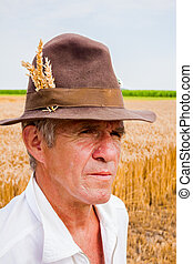 portrait, personne agee, paysan
