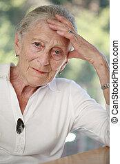 portrait, personne agee, peu profond, woman., dof.