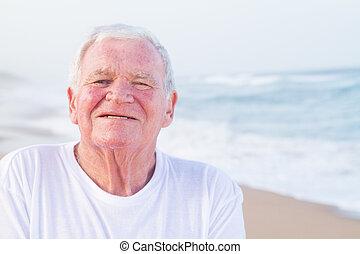 portrait, personne agee, plage, homme