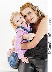 portrait, petite fille, elle, mère