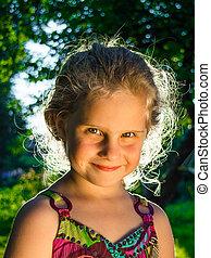 portrait, petite fille, figure