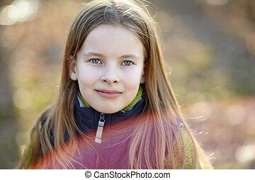 portrait, petite fille, mignon