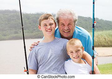 portrait, petits-fils, papy