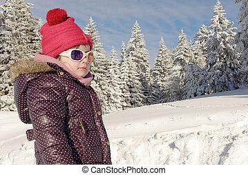 portrait, peu, neige, girl