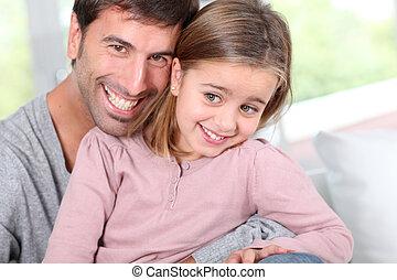 portrait, peu, père, girl