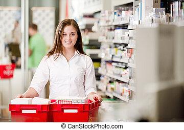 portrait, pharmacien, séduisant, femme