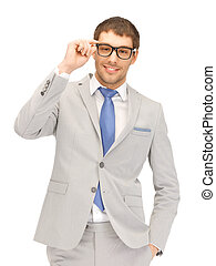 happy businessman in spectacles - portrait picture of happy...