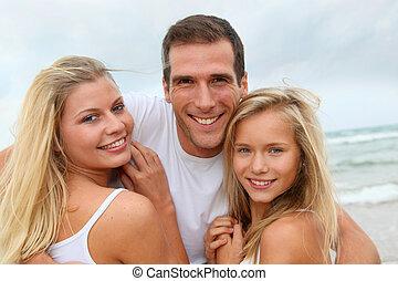 portrait, plage, famille, heureux