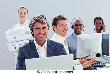 portrait, positif, travail, equipe affaires