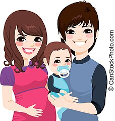 Portrait of a happy Asian couple smiling with wife pregnant and husband holding little baby boy